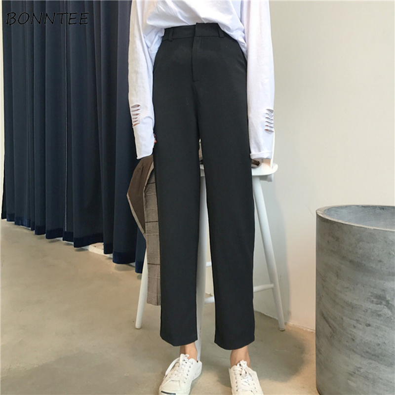 Pants Women 2020 Solid Colour All-match High Ankle-Length Trousers Womens Korean Style Slim Elegant Straight Trendy Zipper Chic