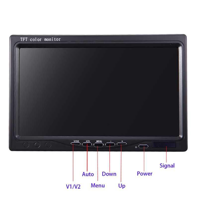 """Monitor portátil LCD pequeño HD de 10,1 pulgadas con botón táctil, pantalla de 1024*600 2 ENTRADA AV 7 """"800*480 para cámara de marcha atrás de visión trasera de coche"""