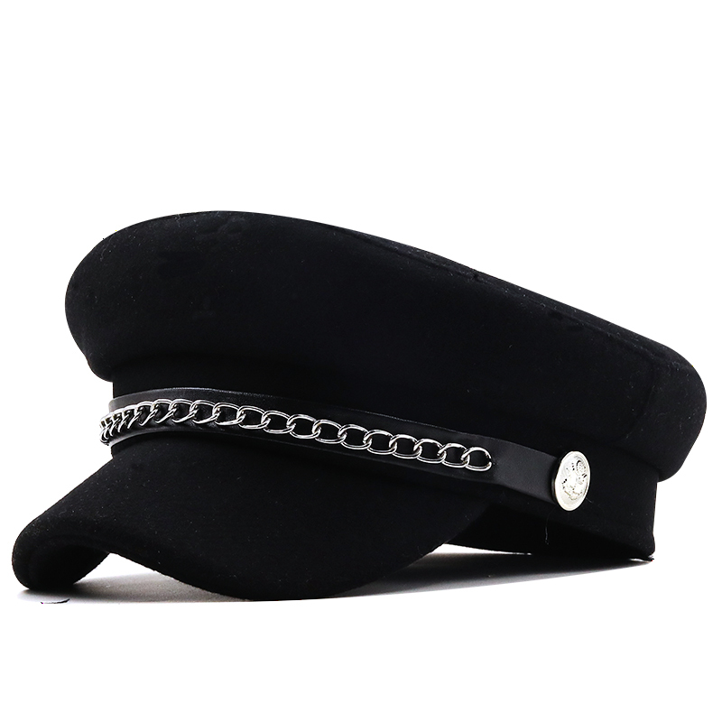 utumn Winter Chain Black Wool Military Berets for Women Female Flat Army Cap Salior Hat Girl Travel Berets Ladies Painters Cap