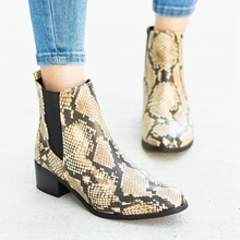 WENYUJH 2019 Snakeskin Bootie Shoes Print PU Women Ankle Boots Zip Pointed Toe Footwear Thick Low Heels Female Boot