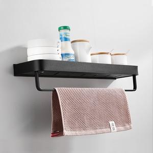 Image 4 - Prateleira para banheiro, prateleira para banheiro, preta com toalha de banho, prateleira de alumínio para banheiro, suporte de shampoo, rack de canto