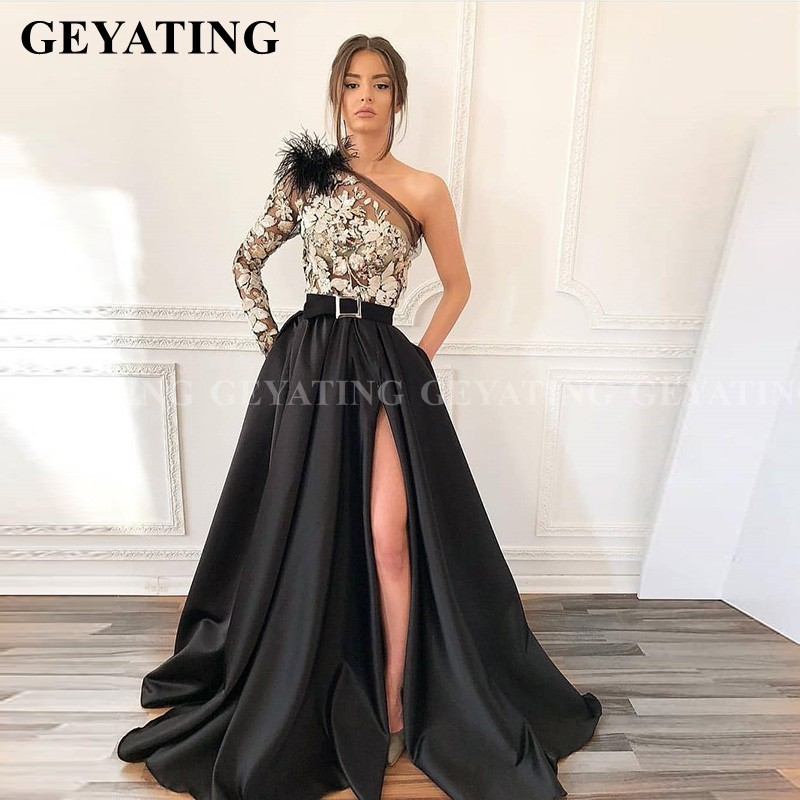 Saudi Arabia One Shoulder Sleeve Black Feather Prom Dresses With Pockets High Slit Evening Gowns Women Long Satin Formal Dress