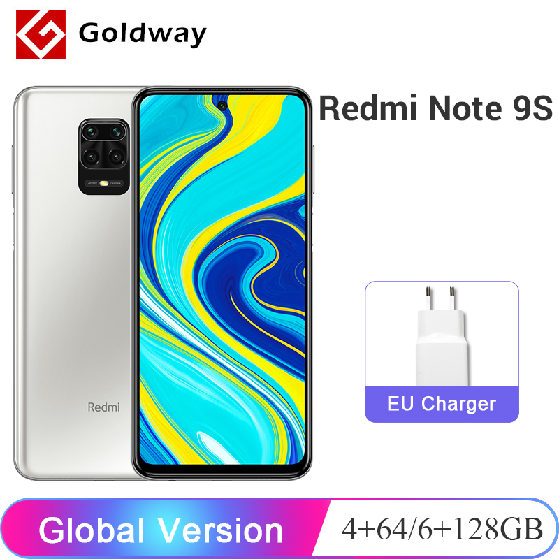 Глобальная версия Xiaomi Redmi Note 9S 9 S 4 ГБ 64 ГБ / 6 ГБ 128 ГБ Смартфон Snapdragon 720G Восьмиядерный 48Мп AI Четыре камеры 6,67