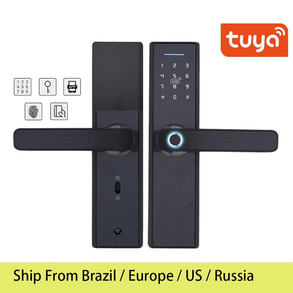 Rfid-Card Digital-Lock Brazil Warehouse Tuya Fingerprint Remotely-Control WIFI Smart-Door title=
