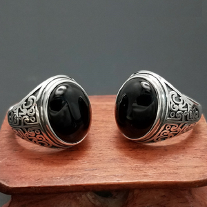 Image 5 - אמיתי 925 כסף שחור גרנט S925 טבעת לגברים נשי חקוק פרח קלאסי פתוח גודל טבעת סטרלינג תאילנדי תכשיטי כסף