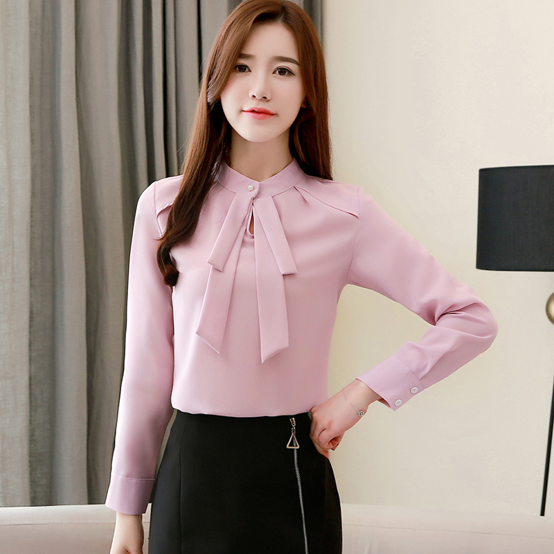 Fashion Womens Tops And Blouses Plus Size Chiffon Blouse Shirt Bow Collar Office Blouse Long Sleeve Women Shirts Blusas 2236 50 5