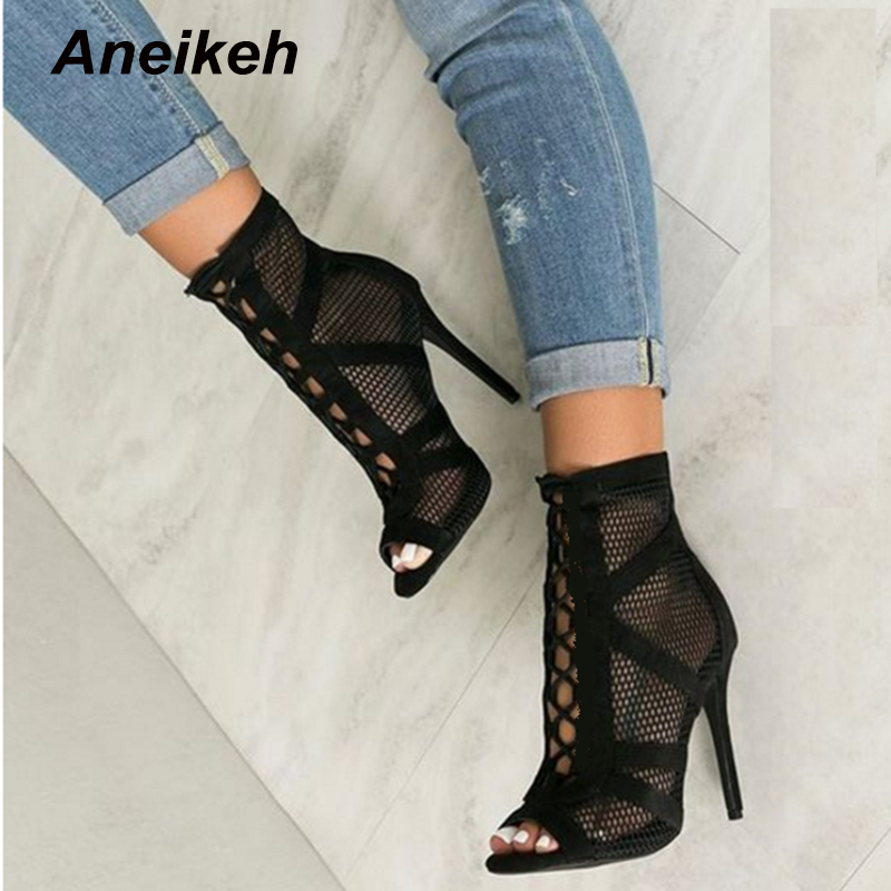 Aneikeh 2021 Fashion Basic Sandals Boots Women High Heels Pumps Sexy Hollow Out Mesh Lace Up Cross tied Boots Party Shoes Party