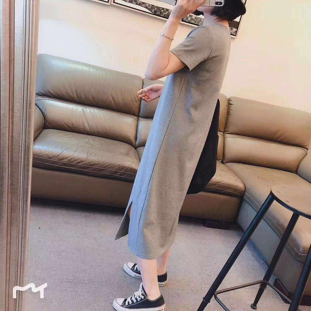 Korean Large Size Slim Dresses For Plump Girl Loose Mid-Length Summer Short Sleeve Dress For Student Young Robe Plus Size Casual 2