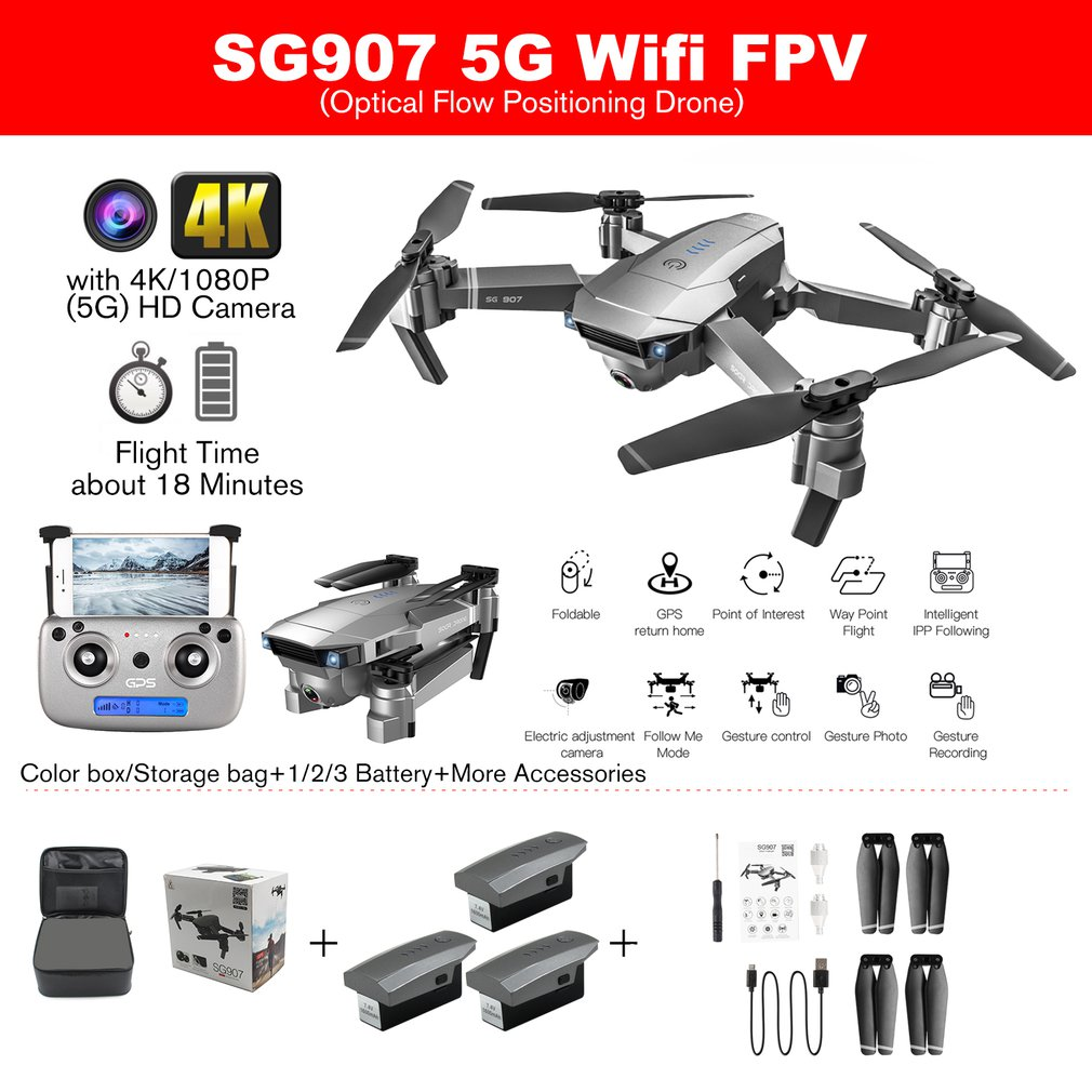 SG907 GPS Drone with 4K/1080P HD Camera 5G Anti-shake FPV RC Helicopter Gesture Photo Professional Drone RC Toy Machine