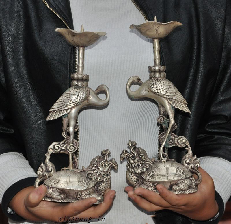 wedding decoration Old Chinese Fengshui Silver Dragon Turtle Crane Candlesticks Candle Holders Pair