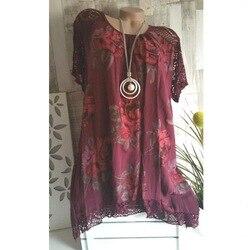 5XL Nice Summer Women Lace Patchwork Plus Size Batwing Sleeve Floral Print Hem Shirts