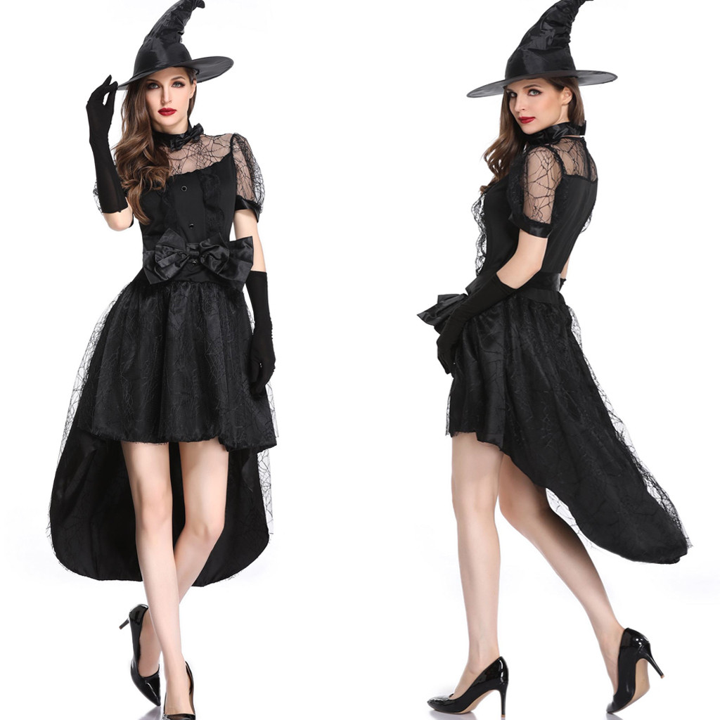 2019 Fashion <font><b>Sexy</b></font> Dress Set Woman Party Night <font><b>Halloween</b></font> Black Cosplay Vampire Witch Vintage <font><b>Gothic</b></font> Long Lace Top A Line Dress image
