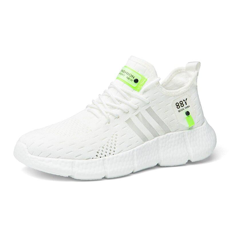 Мужские кроссовки 9908 повседневная обувь белого, с тремя полосками, дышащая обувь из сетчатого материала светильник к протиранию, поглощающ...