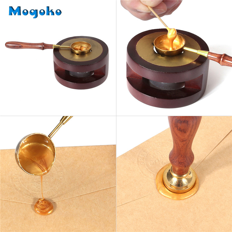 Mogoko Wax Seal Warmer Wax Seal Furnace&Melting Spoon Kit Wax Beads Sticks Melting Tool For Wax Seal Stamp (Wooden Wax Melting)