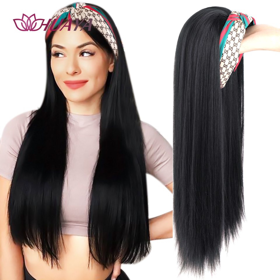 HUAYA Long Straight Headband Wigs Heat Resistant Synthetic Hair  For Black Women Half head Invisible seamless Hair Extensions