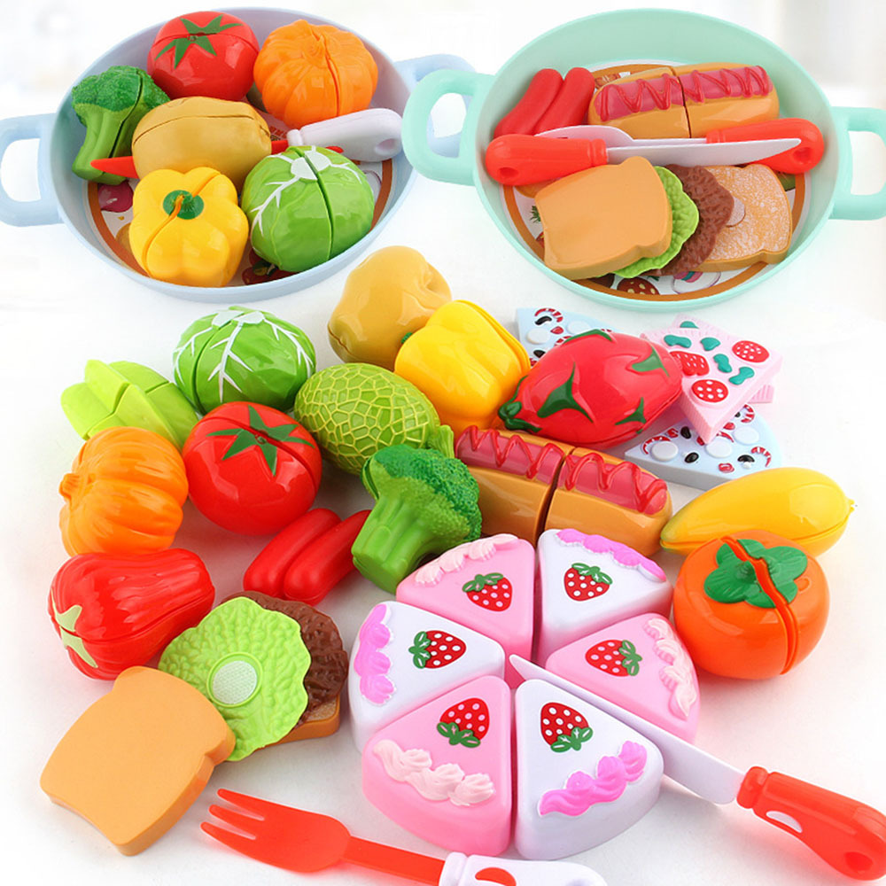 Kids Simulation Kitchen Cut Fruit Vegetable Cutlery Toys Set Kitchen Pretending Cooking Games Toy Kids Early Educational Toys