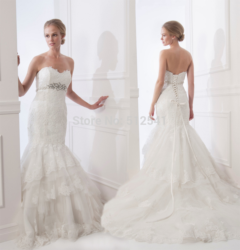 Noble Lace Up Mermaid Trumpet Sweetheart Wedding Dresses Lace Applique Beads Layers Bridal Gowns 2019