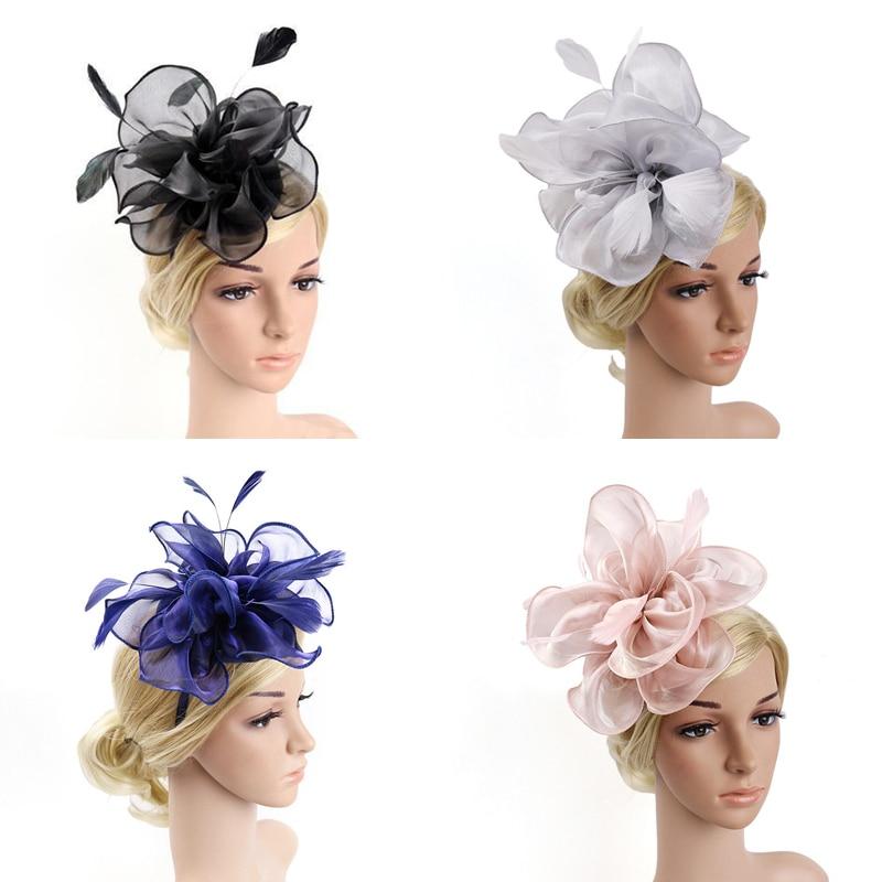 1Pc Banquet Feather Hair Pins Headdress Wedding Party Bridal Tiara Women Fascinators Clip Ladies Accessory Wedding Women