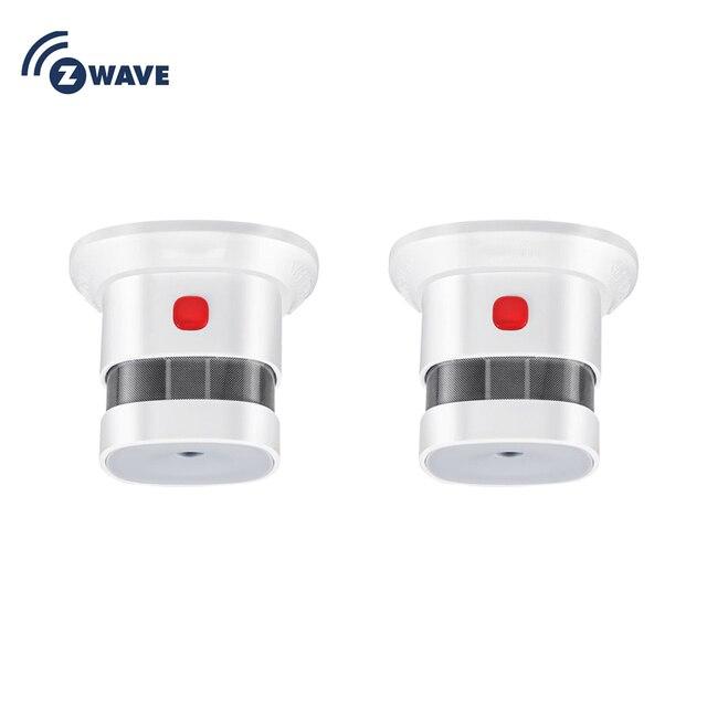 HAOZEE Sensor de humo z wave Plus Smart Home, versión UE, 868,42 mhz, detector de humo por ondas Z, funciona con batería, 2 unids/lote