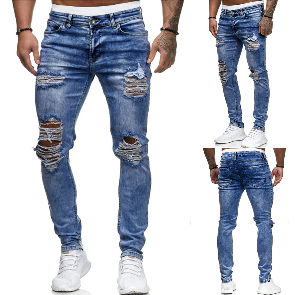 Mens Ripped Jeans For Men Casual Black Blue Skinny Slim Fit Denim Pants Biker Hip Hop Jeans With Sexy Holel Denim Pants NEW@G2