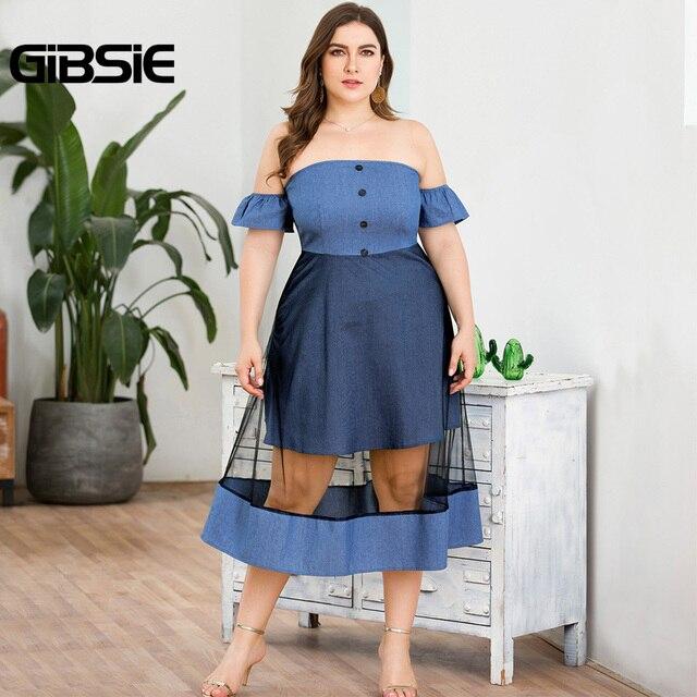 GIBSIE Plus Size Off Shoulder Button Women Mesh Patchwork Denim Dress Summer Female High Waist Streetwear A-line Long Dress