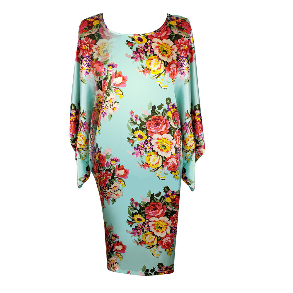 Satin Printed Flower Sleepwear Women Nightgown Big Size 3XL-6XL Intimate Lingerie Sexy Spring New Nightwear Home Dressing Gown
