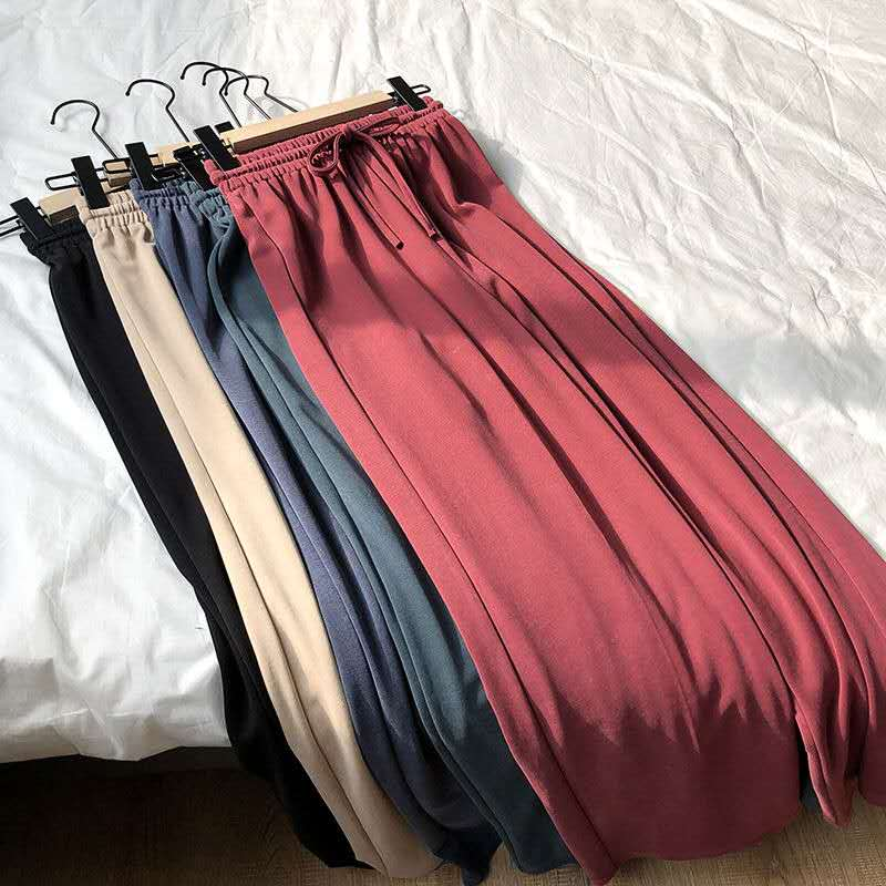 Women Pants Summer Loose Pants Cool Thin Knitted Pants Vintage Color Trousers Elastic Soft Pants Black Trousers Wide Leg Pants