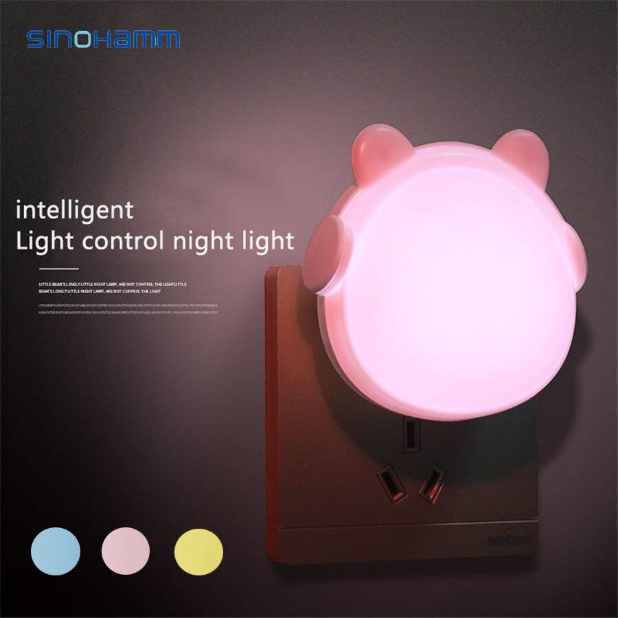Children's Night Light Plug-In US EU Remote Control White Pink Yellow Blue Bear 220v Sensor Light Cute Bear Child Room Lamp