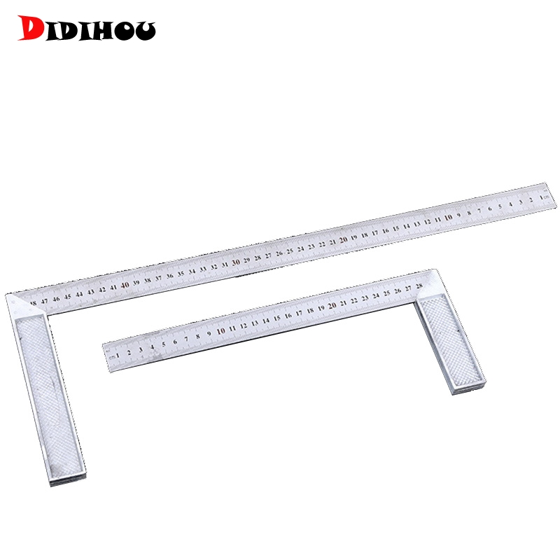DIDIHOU 90 Degree Try And  Square Ruler Aluminum Handle Measuring Angle Carpenters Square Ruler With Stainless Steel Scale