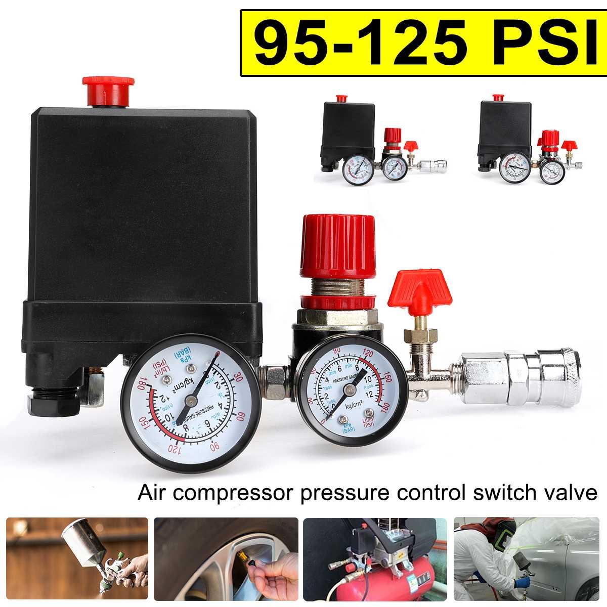 Medidores de válvula de Control de 4 puertos, bomba de compresor de aire, Control de presión con manómetro, 380V, 95-125PSI, Interruptor de Presión Del Compresor de Aire