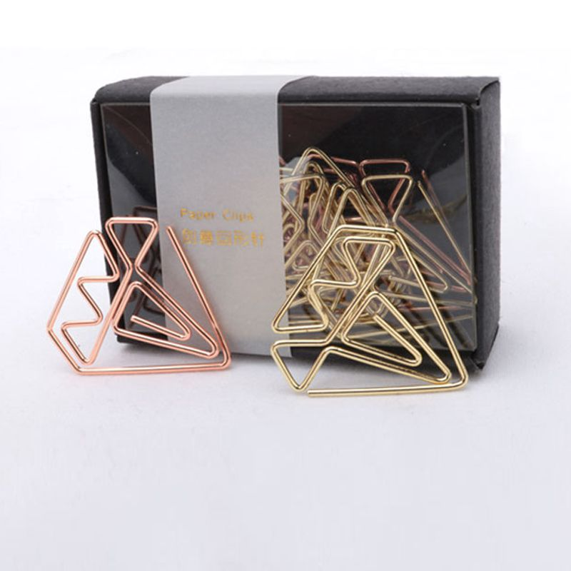 New Arrival Bookmark Diamond Clip Rose Gold Clip Gold Staples Stationery Befriend Metal Paper Clip