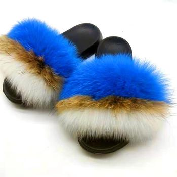 Sexy Woman Winter Furry Slippers Really Fox Fur Sandals Fluffy Real Fur Flip Flops Female Home Shoes Non-slip EVA Indoor Slipper