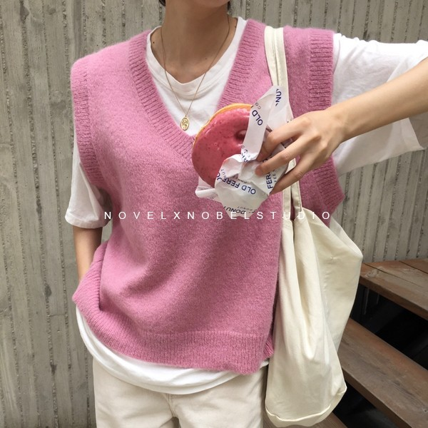 New V neck Girls Pullover vest sweater Autumn Winter Pink Knitted Women Sweaters vest Sleeveless Warm Sweater Casual oversize 2