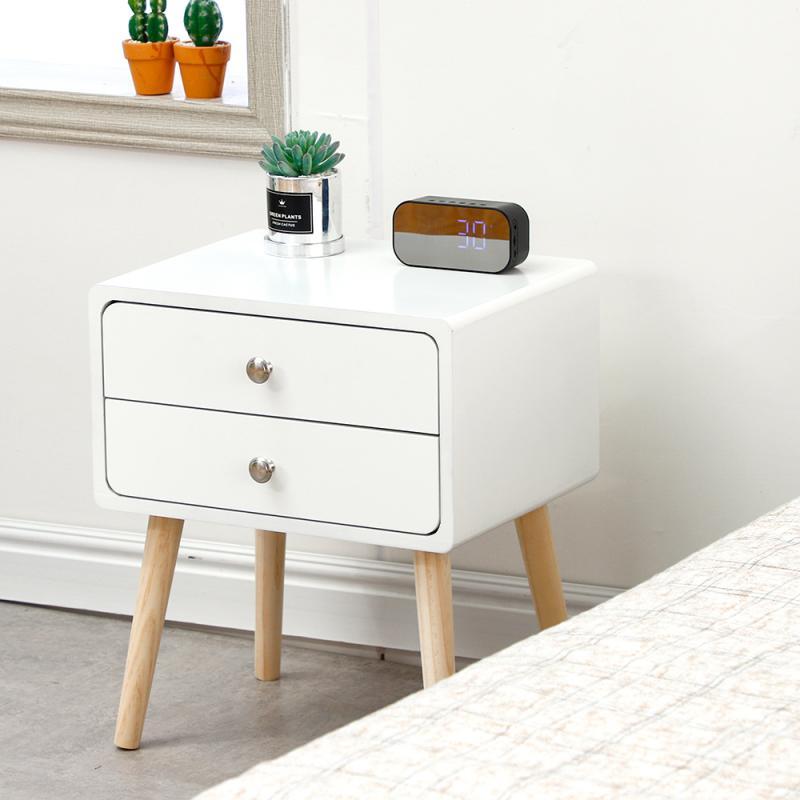 Nordic Wood Nightstands Dresser 2 Drawer Bedside End Table Bedroom Furniture 42*32*50cm Dropshipping HWC