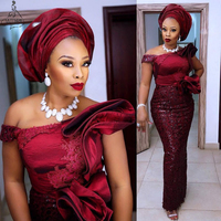 Aso Ebi Nigeria Burgundy Prom Dresses Off the Shoulder Sequins Lace Mermaid Long Evening Dress Plus Size African Formal Gown