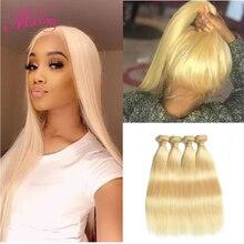 Blond 613 wiązki proste włosy ludzkie brazylijskie włosy wyplata wiązki 1 2 3 4 wiązki Remy włosy Mslove mogą być barwione dowolny kolor