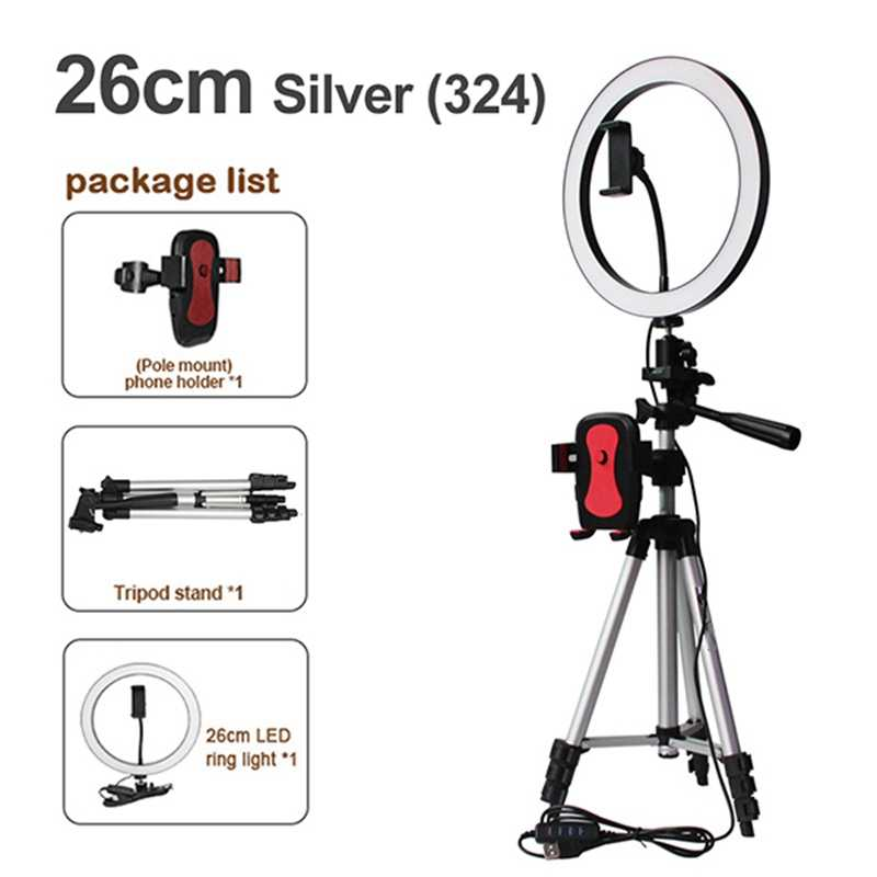 Telefoon Statief Houder Clip Met Led Ring Light Camera Fotografie Ringvormige Lamp Studio Ringverlichting Voor Youtube Make-Up Telefoon Zelf