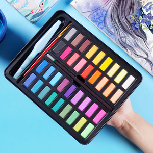 Image 5 - New Portable 36 Color Solid Watercolor Paint Set Children Beginners Hand Painted Water Color With Water Brush Pen Art Supplies