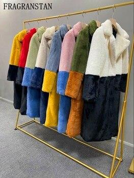2020 hiver femmes haute qualité Faux lapin fourrure manteau de luxe longue fourrure manteau revers pardessus épais chaud grande taille femelle en peluche manteaux 1