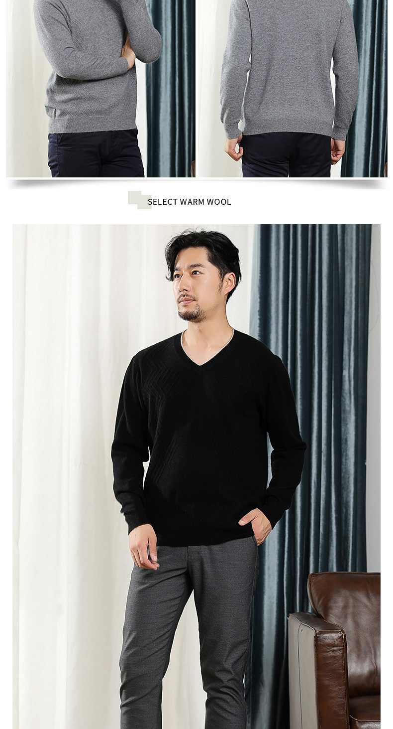 Men V-neck 100% Pure Cashmere Knitted Sweaters