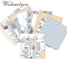 WISHMETYOU 24PCS Scrapbook Christmas Winter Forest Animals Decoration Paper Handmade Card Photo Album Background Packaging