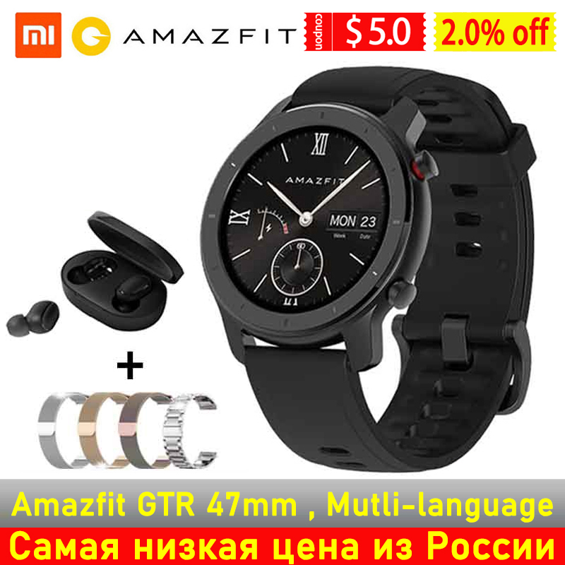 [Глобальная версия] AMAZFIT GTR 42 мм умные часы 5ATM водонепроницаемые GPS GLONASS Bluetooth монитор сердечного ритма умные часы