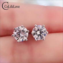 Colife jewelry simple moissanite stud earrings real d color