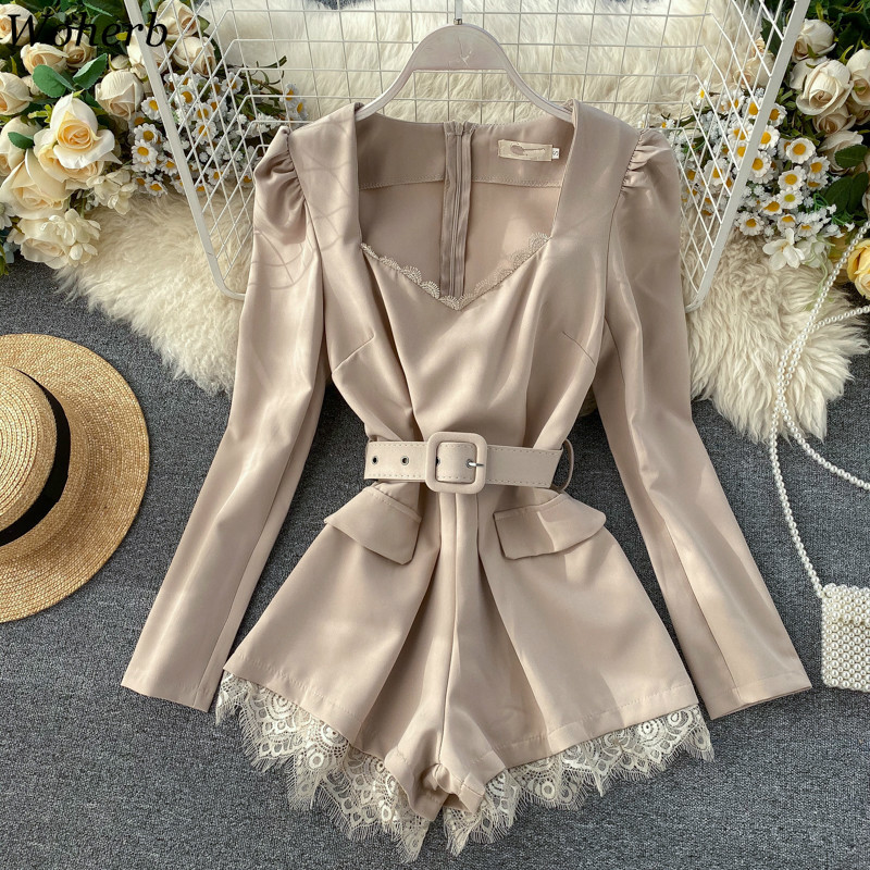 Woherb Elegant Vintage Long Sleeve Playsuit Solid Color Slim Waist Belt Jumpsuit Women Lace Fashion Overalls Korean New 91534