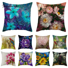 Fuwatacchi Euro Style Cushion Cover Lily Linen Throw Pillow Case Sofa Seat Flowers Decorative Cotton
