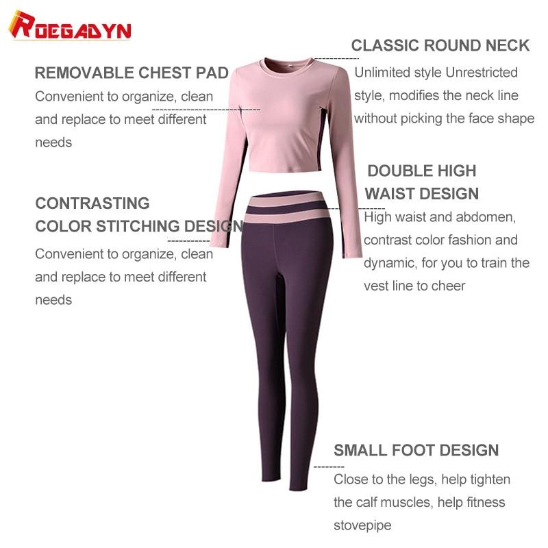 ROEGADYN Gym Yoga Set Fitness Elastic Workout Set Long Sleeve Top Higt Waist Leggings Suit Sports