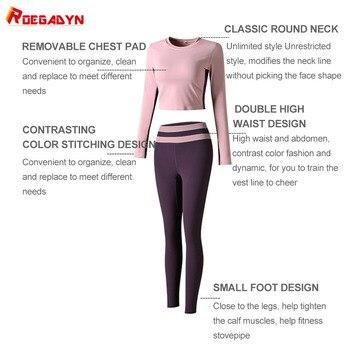 ROEGADYN Gym Yoga Set Fitness Elastic Workout Set Long Sleeve Top Higt Waist Leggings Suit