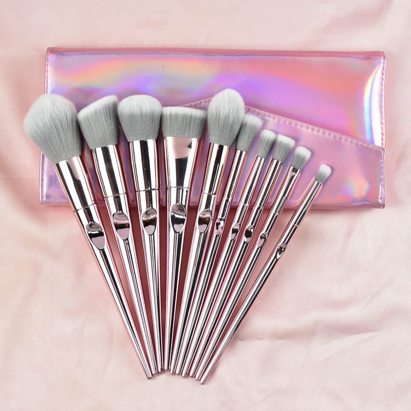 10 Uds. Cepillo de maquillaje de fibra de lana rosa con mango galvanoplastia juego de brochas de maquillaje láser paquete brochas de maquillaje