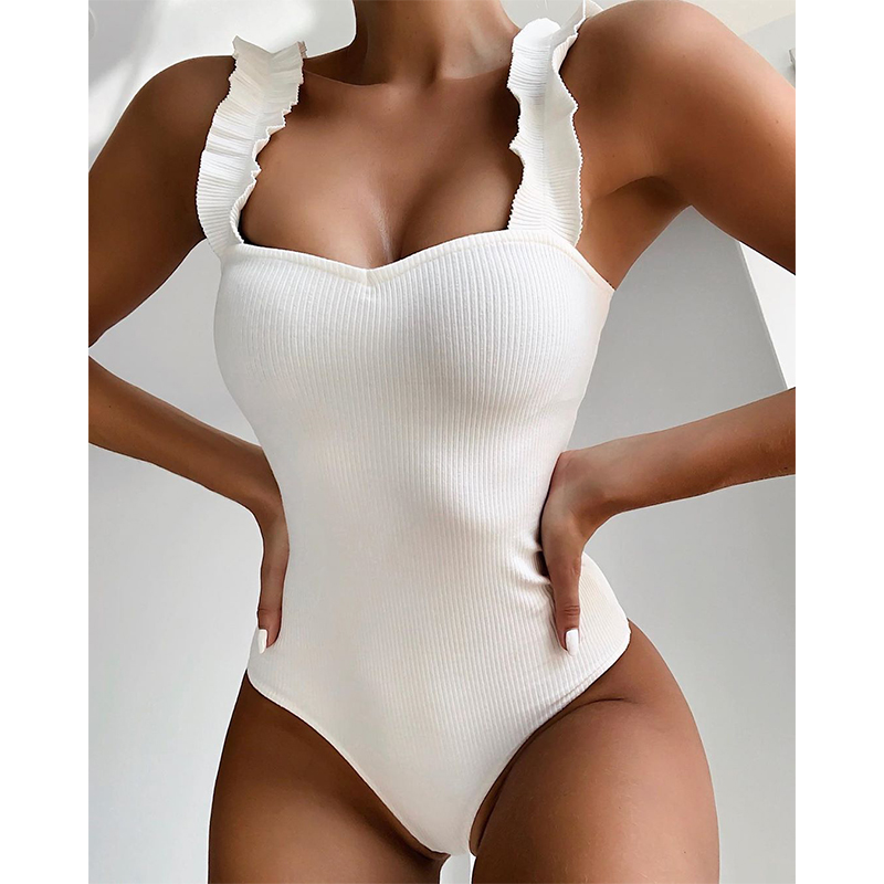 2020 New Sexy One Piece Swimsuit Women Wood Ear Ruffle Swimwear Push Up Monokini Bathing Suits Summer Beach Wear Swimming Suit