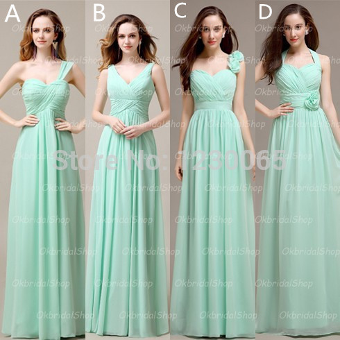 Vestidos Noiva Discount Long Mint Chiffon Mismatched Bridesmaid Dresses Formal Custom Free Shipping 2016 Flowers New Long Gown